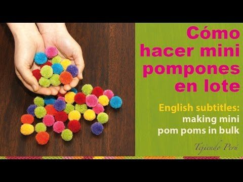 Making mini yarn pom poms in bulk / Cómo hacer mini pompones de lana en lote - YouTube This is amazing