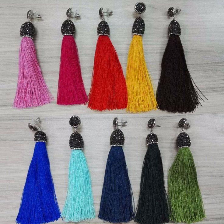 original handmade multi colors bohemian blue green red pink fabric long drop dangle tassel earings for women charming jewelry