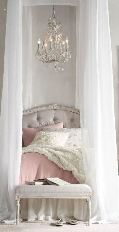 Shabby Chic Design ~ love the sheer drapes and chandelier hung over the middle of the bed with distressed wood headboard