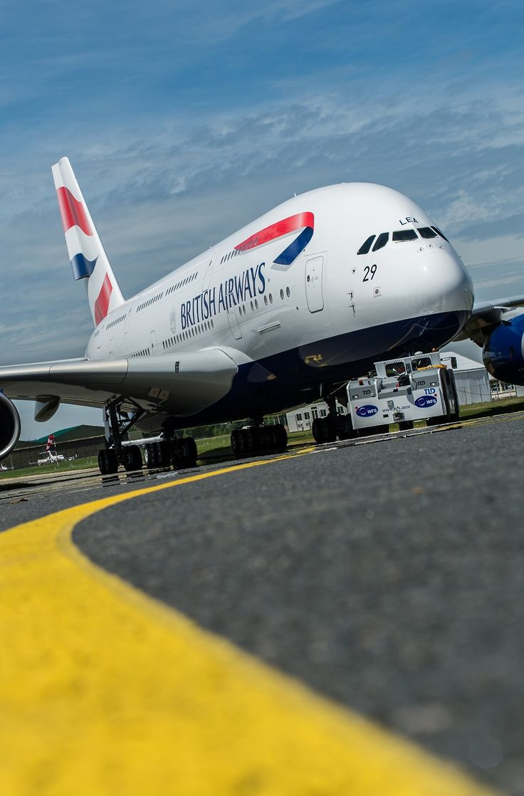 Towing British Airways Airbus A380-800 to parking position.