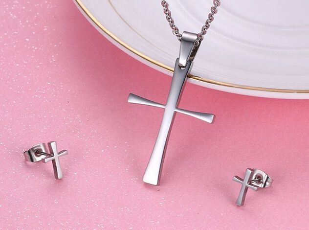 2016 Fashion Stainless Steel Silver Cross Necklace & Earring Studs Jewelry Set