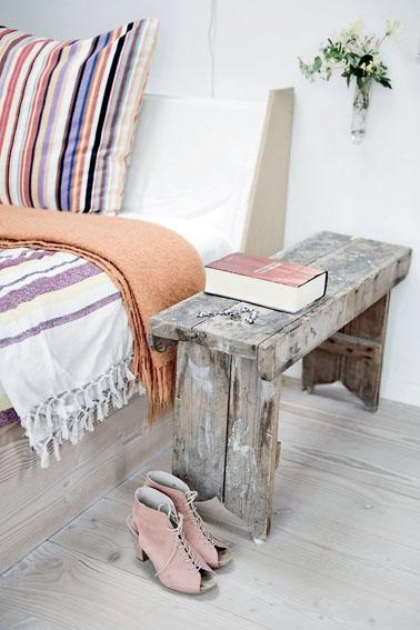 like the vintage looking stool idea for a night stand.