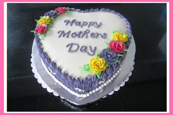 Happy Mother's Day Cake with buttercream icing and roses