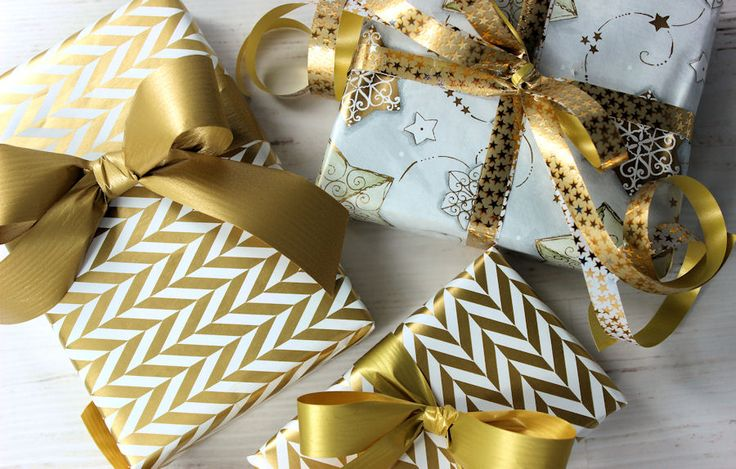 Wrap of the Month by Finmark.  Traditional gold wrap is beautiful for Christmas.  See our full range at www.finmark.com.au
