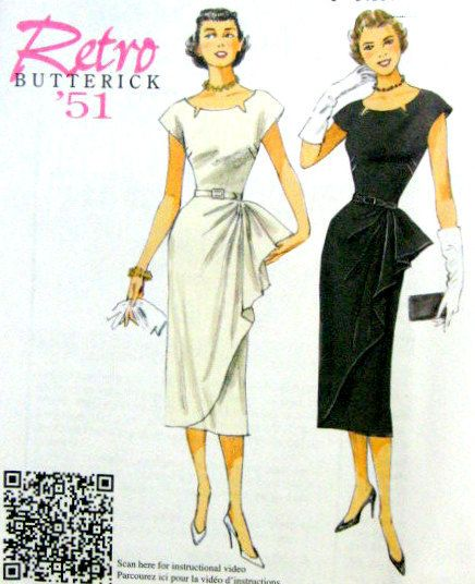 1950s Inspired Misses Sheath Wiggle Dress Sewing Pattern, 1951 Reissue of Butterick 5880 sizes  6 to 14 uncut