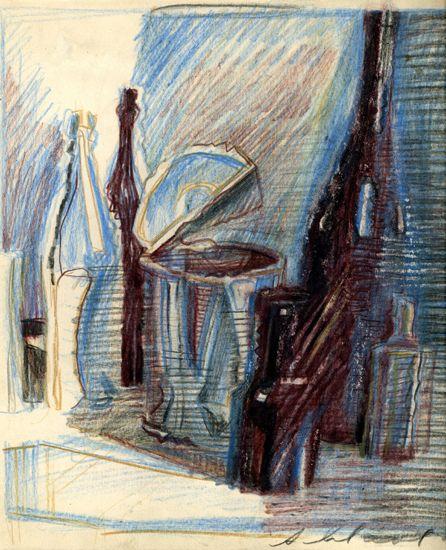 Бутылка и консервная банка. 1978  Бумага, цветные карандаши. 26х23,4.