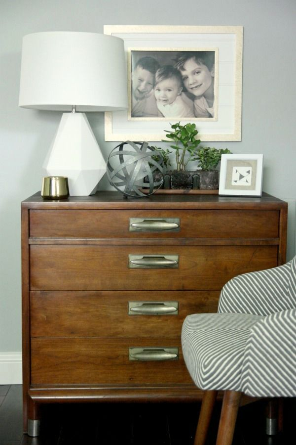 "vintage desk with simple accessories Benjamin Moore ""Half Moon Crest"""