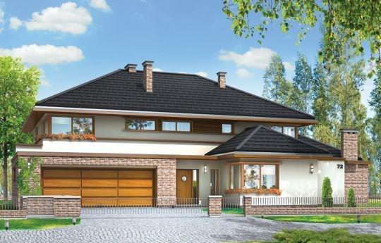 Projekt Willa z basenem to obszerna rezydencja dla rodziny cztero-sześcioosobowej. Dom składa się ze zwartej, jednopiętrowej bryły przekrytej czterospadowym dachem, oraz dobudowanych dwóch brył parterowych, przekrytych wielospadowymi dachami. Budynek jest podmiejską willą o nowoczesnej, ale spokojnej architekturze. Ciekawa stylistyka domu z dobudowanym garażem, dużym zadaszonym podcieniem, oraz osobnym pomieszczeniem z tyłu willi, pełniącym funkcję wypoczynkową.