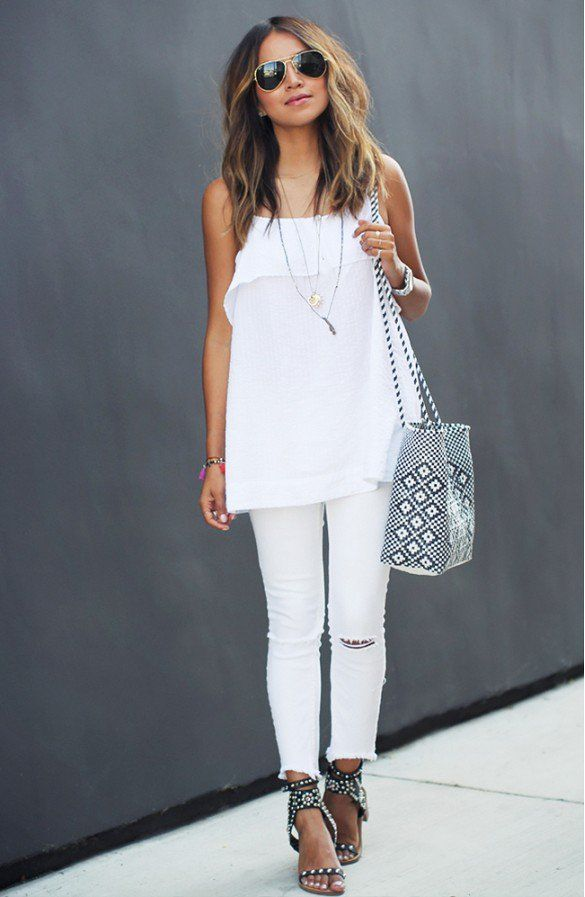 white outfit sunglasses