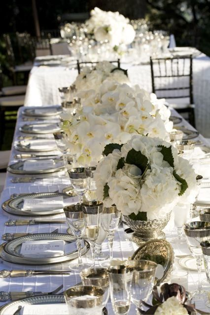 All white wedding tablescape beautiful outdoor wedding for Black and white tablescape ideas
