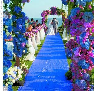 Perfect Purple And Blue Orchid Wedding Aisle.
