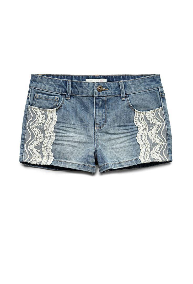 Lace Trim Denim Shorts (Kids) | FOREVER21 girls  Denim and lace #F21Girls #Juniors