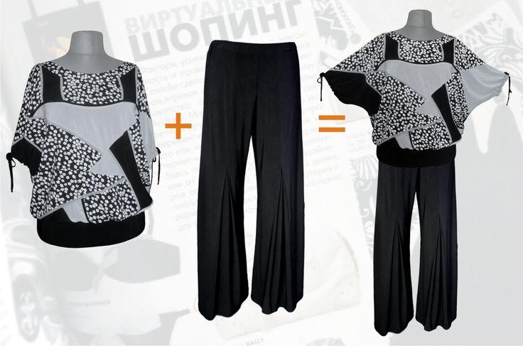 64$ Летний брючный костюм для полных женщин в мелкий цветочек: блузка свободного покроя + брюки прямые от бедра со складкой от колена чёрные Артикул 676, р50-64 Женские костюмы большие размеры  Женские костюмы с брюками большие размеры  Летний брючный костюм большие размеры  Трикотажные женские брючные костюмы большие размеры  Трикотажные летние брючные костюмы большие размеры