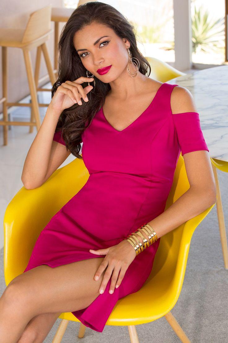 2017 Valentine's Day Date Night   Women's Pink Cold Shoulder Sheath Dress.