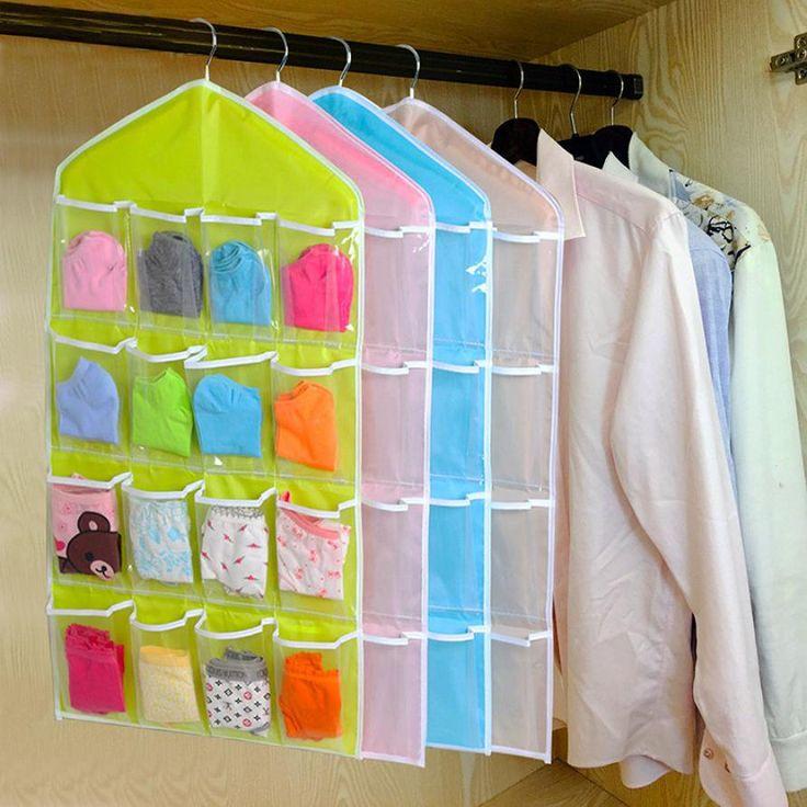 New Qualified Storage Box 16Pockets Clear Hanging Bag Socks Bra Underwear Rack Hanger Storage Organizer Levert Dropship dig6527