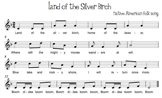 Land of the Silver Birch Pair with Canoe Song Beth's Music Notes: Partner Songs & Countermelodies