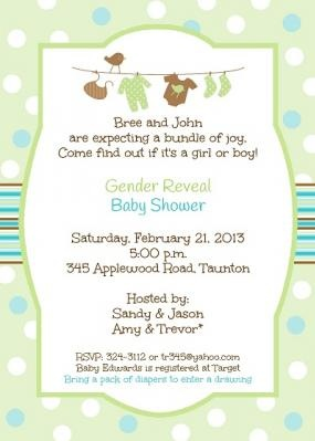 Gender Reveal Baby Shower Invitation With Baby Clothes, Booties And Big In  Neural Colors Or