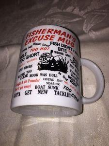 10 Oz White Ceramic Fisherman's Excuse Coffee Mug Cup Funny Gag Gift NEW Fishing  | eBay