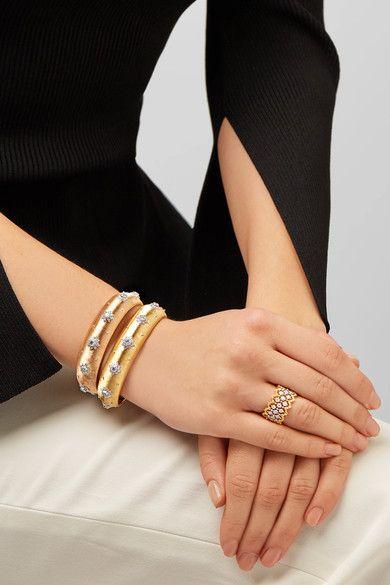 Shop Women's fashion BUCCELLATI Macri 18-karat yellow and white gold diamond cuff
