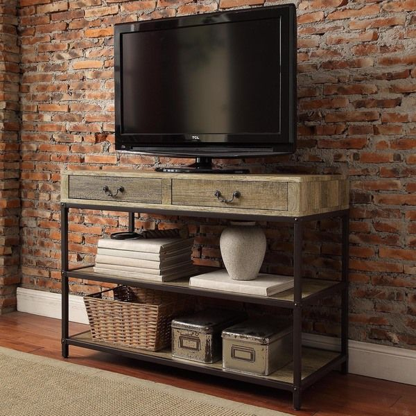 Sadie Industrial Rustic Open Shelf Drawers Media Console - Overstock™ Shopping - Great Deals on Entertainment Centers