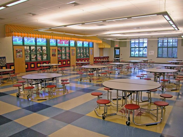 school cafeteria design | Cafeteria Design | School Design: Conceptual Round drop leaf tables, attached stools