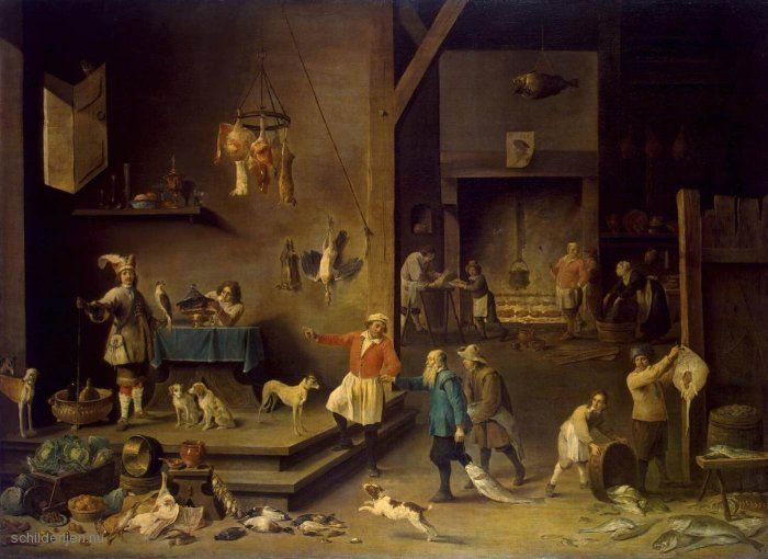 De afbeelding hierboven toont het schilderij de keuken for Kunst keuken