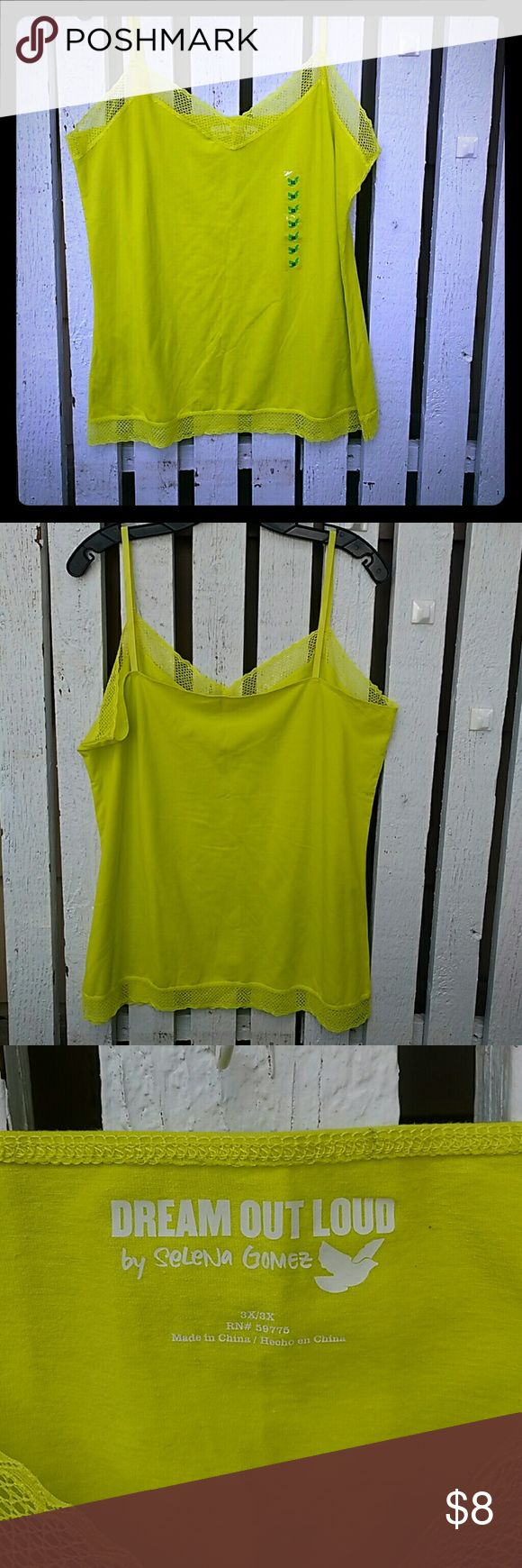3X Dream out loud cami; new Never worn. Bright yellow cami, plunging V-neck. Top and bottom trim is mesh/lace. dream out loud Tops Camisoles