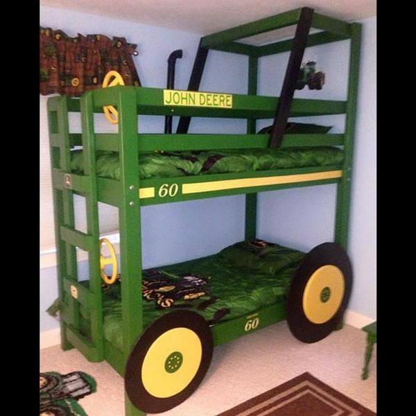 John Deere Bunk Bed 3 - 21 Bunk Bed Designs and Ideas: http://www.familyhandyman.com/bedroom/bunk-bed-designs-and-ideas#17