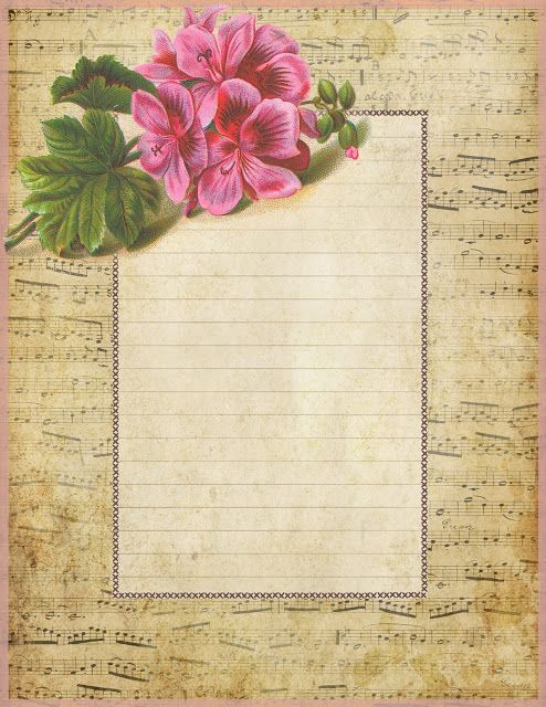 French sheet music lined paper ~ pink geranium (494x640, 132Kb)