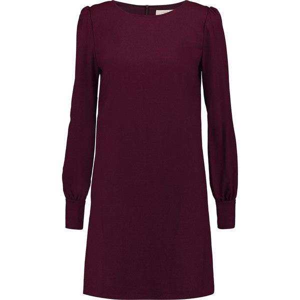 Goat Tallulah wool-crepe mini dress (385 AUD) ❤ liked on Polyvore featuring dresses, burgundy, loose fitting dresses, loose mini dress, burgundy dress, short dresses and loose fit dress