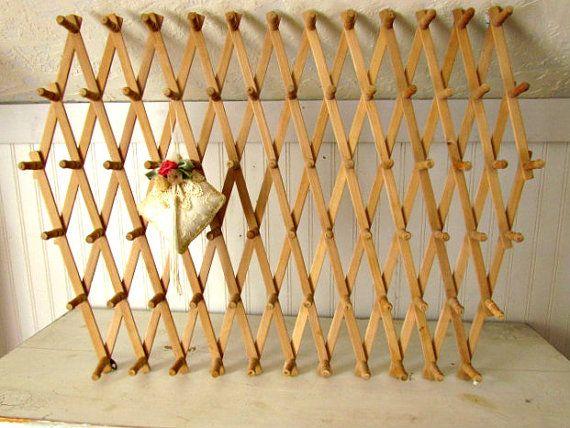 Large Expanding Accordion Peg Rack Wooden Peg Rack Wall Mounted Craft Room Decor