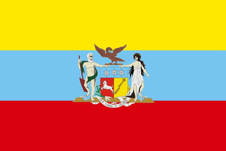 Last flag of Gran Colombia which was a nation state that encompassed much of northern South America and part of southern Central America from 1819 to 1831. This short-lived republic included the territories of present-day Colombia, Venezuela, Ecuador, Panama, northern Peru and northwest Brazil. Gran Colombia's territory corresponded more or less to the original jurisdiction of the former Viceroyalty of New Granada.