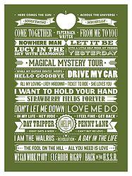The Beatles Greatest Hits. Typography art print of Beatles songs. $40 from www.needsandwishesart.com