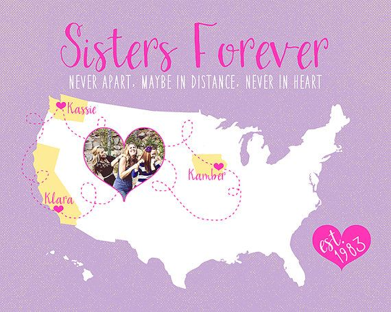 Gifts for Sister, Best Friend, Moving Away Gift for Sister -  Custom Map, Long Distance Sisters, Sister Quote, BFF Art, Purple, Yellow