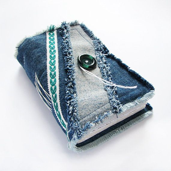 Blue Denim Jeans Handmade Journal, Notebook, Diary, Stitched, Recycled, Green Button (Book cover)