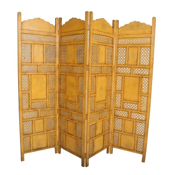 Porter International Designs Leelo X Wanderloot Leelo 4 Panel Room Divider  Finish: Yellow
