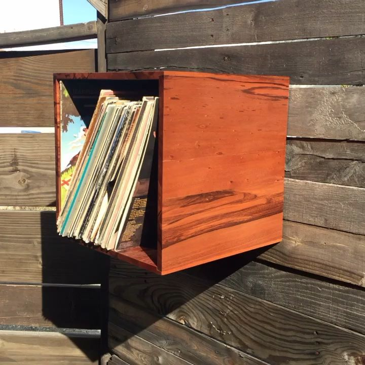 Wall mount vinyl record album storage box made with red marble wood
