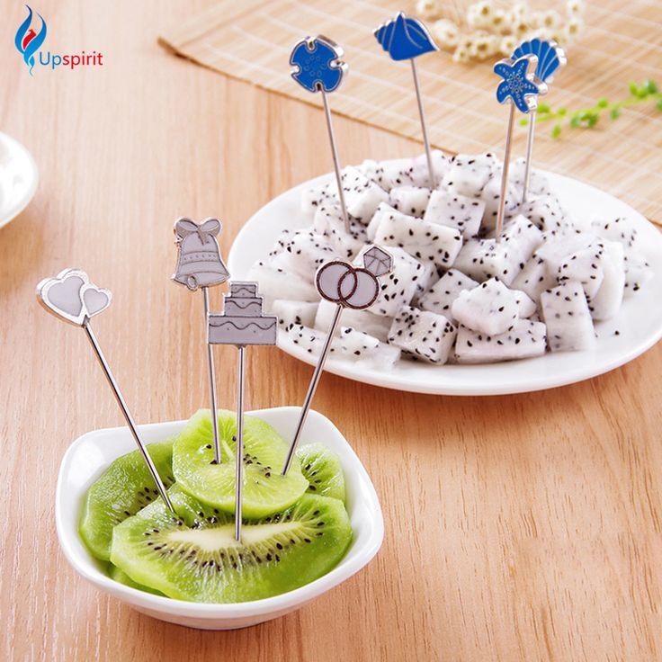 4Pcs/Set European Style Fruit Picks Wedding Party Creative Gift Stainless Steel Cartoon Blue Sea Cake Fruit Fork Set Cutlery