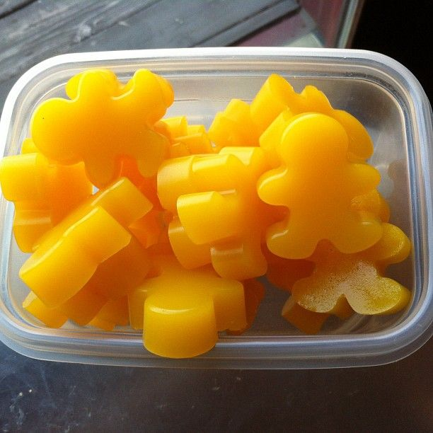 Gummy Men!  1 1/2 c. fresh OJ  1/4 c. Great Lakes Gelatin  2 TB honey  Put all in sauce pan and stir till mixed.  Turn on heat till mixture becomes a thin liquid.  Let cool slightly and pour into your mold.