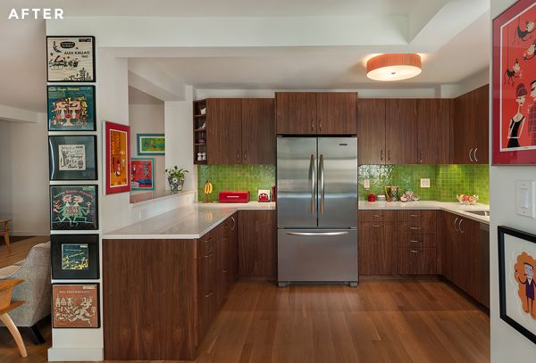 Clinton HIll kitchen features custom millwork and bright green mosaic tile for backsplash.