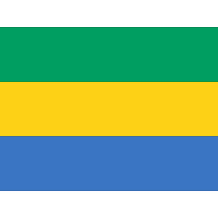 Tafelvlaggen Gabon 10x15cm   Gabonese tafelvlag De huidige vlag van Gabon werd aangenomen op 9 augustus 1960, het jaar waarin Gabon een onafhankelijke staat werd.  De driekleur bestaat (van boven naar beneden) uit groen, geel en blauw. Het groen symboliseert de bossen en van het land, het geel de zon en het blauw de zee. Gabon grenst ten westen namelijk aan de Atlantische Oceaan.