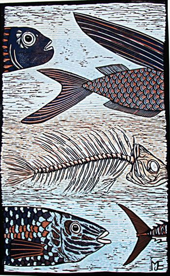 Fish art Big Blue linocut reduction limited edition by artcanbefun