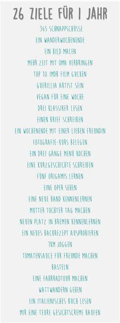 ziel:los: 26 Ziele für ein Lebensjahr: Die Liste.  to-do, ziele erreichen, ziele definieren www.ziellos-blog.blogspot.de