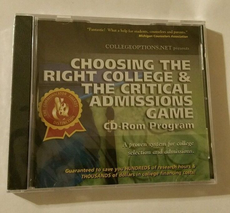 Choosing The Right College & The Critical Admissions Game PC/CD Planning Guide