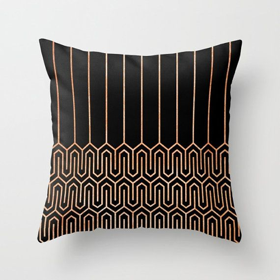 Black Geometric Cushion Cover Art Deco Throw by SaudadePrints