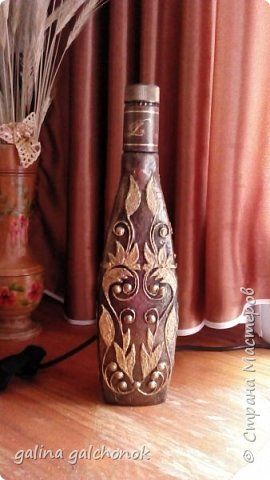 Декор предметов Мастер-класс Аппликация моя первая бутылка Бутылки стеклянные Шпагат фото 10