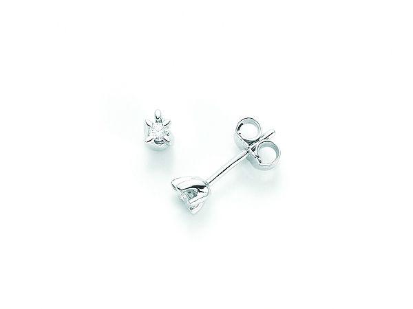 Orecchini Miluna punto luce con Diamanti Naturali 0.07ct in oro bianco 18kt ERD1650