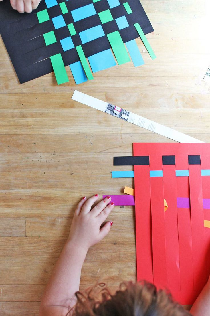 Make placemats, lampshades, vases...etc! The possibilities are endless with this paper weaving craft.