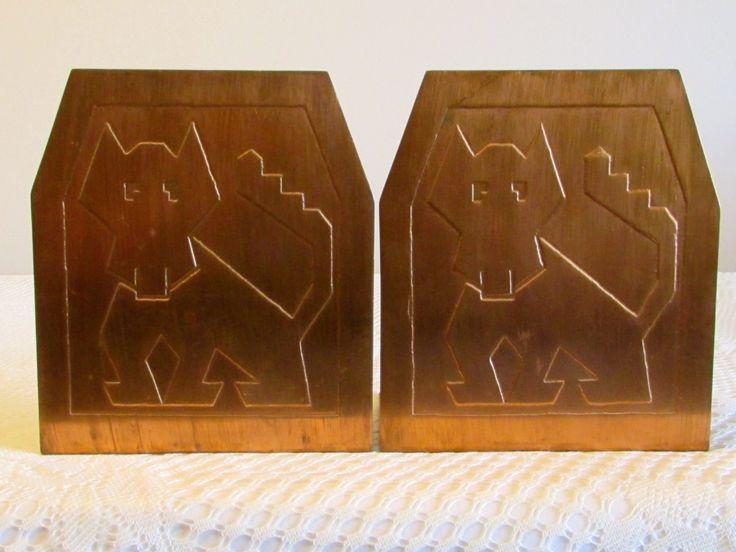 Stamped Dog Design Copper Bookends, Vintage Brushed Copper Dog Design Bookends, Library Decor, Southwestern Style Metal Dog Bookends