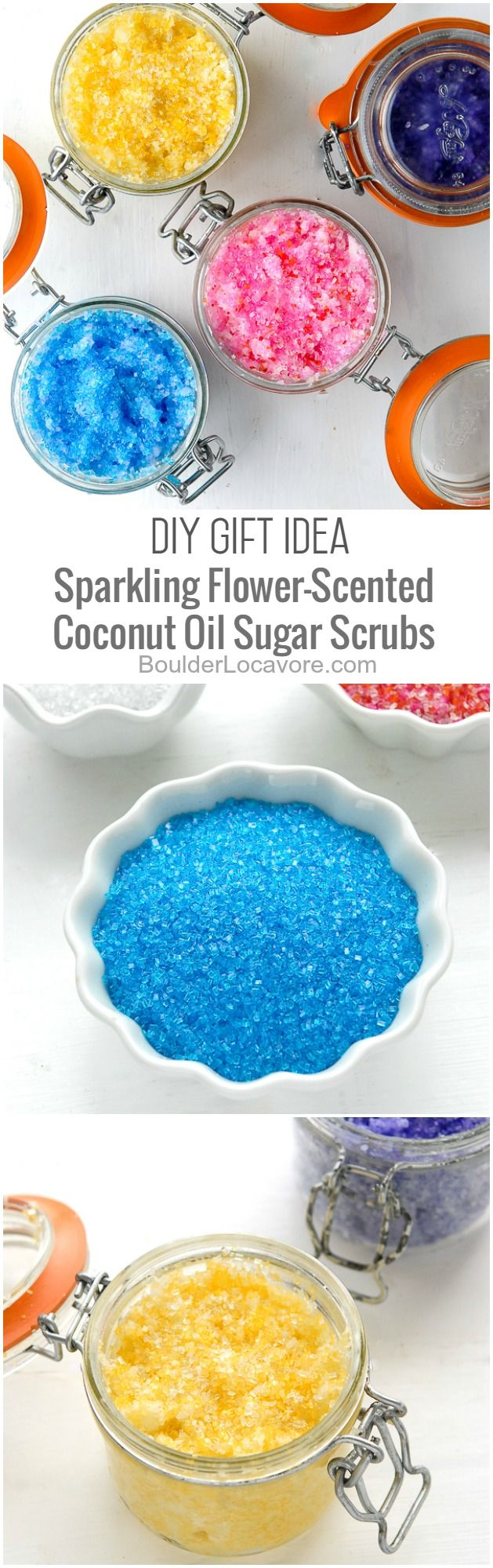 DIY Sparkling Flower-Scented Coconut Oil Sugar Scrubs are DIY gift ideas perfect for Valentine's or Mother's Day, or for any home spa day! Free printable labels too.